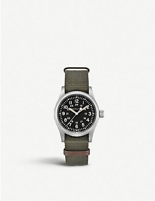 HAMILTON: H69429931 Khaki Field Mechanical stainless steel and textile watch