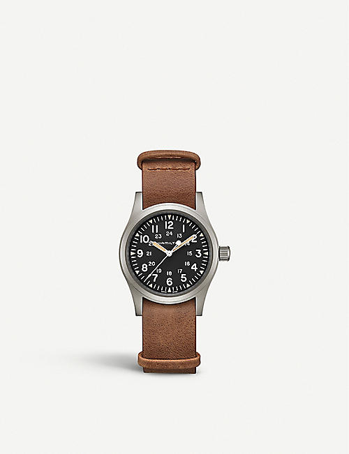 HAMILTON: H69439531 Khaki Field Mechanical steel and leather watch