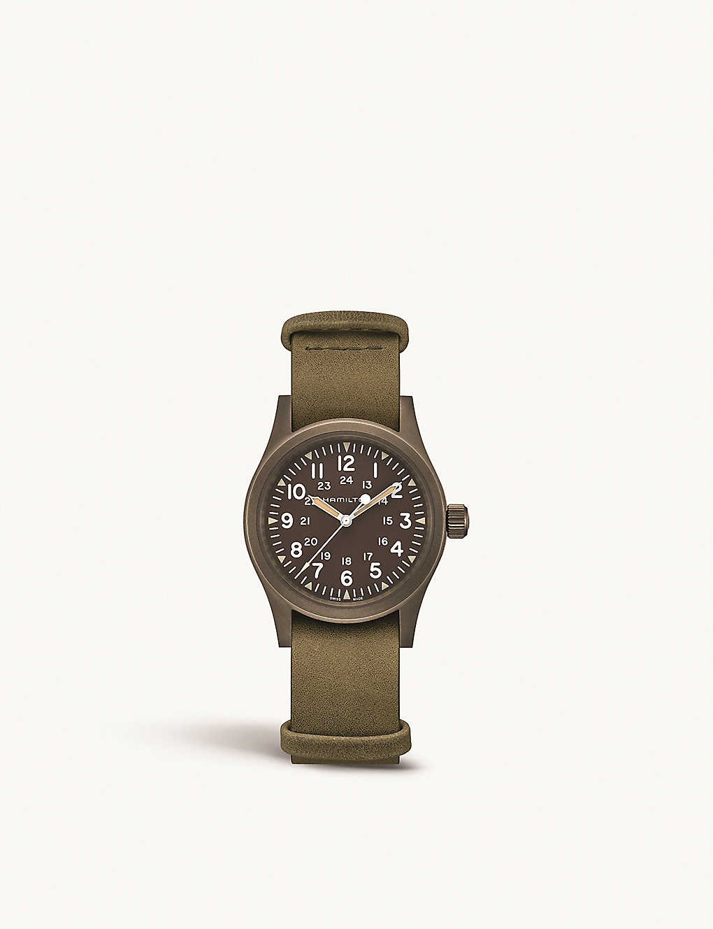 HAMILTON: H69449961 Field Mechanical steel and leather watch