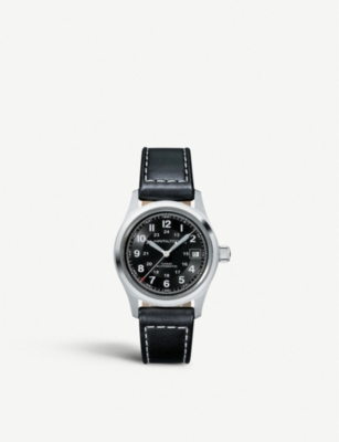HAMILTON H70455733 Khaki Field stainless steel and leather watch