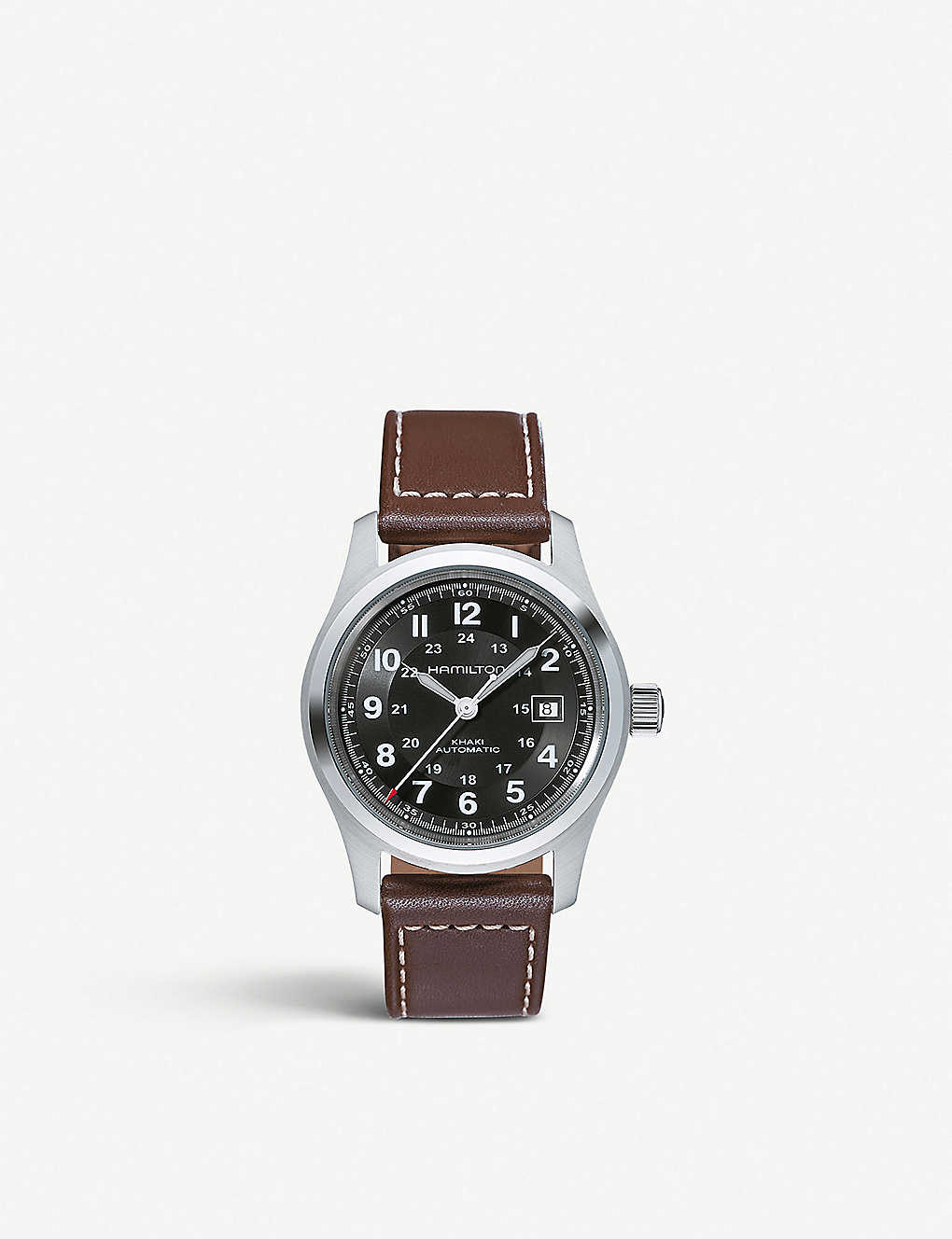 HAMILTON: H70555533 Khaki Field automatic stainless-steel and leather watch