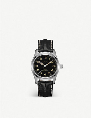HAMILTON: H70605731 Khaki Field stainless steel and leather watch