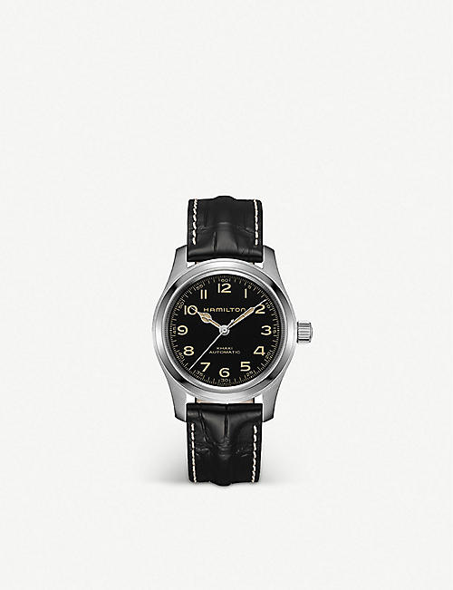 HAMILTON H70605731 Khaki Field stainless steel and leather watch