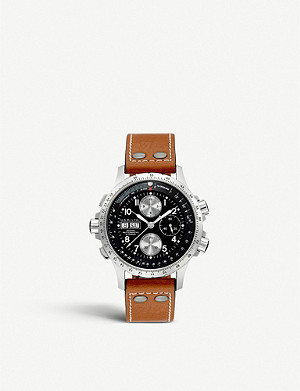 HAMILTON H77616533 Hamilton Khaki X-Wind leather chronograph watch
