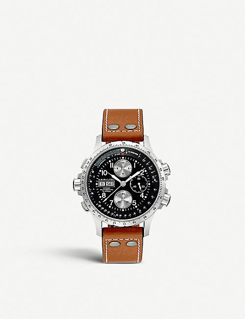HAMILTON: H77616533 Hamilton Khaki X-Wind leather chronograph watch