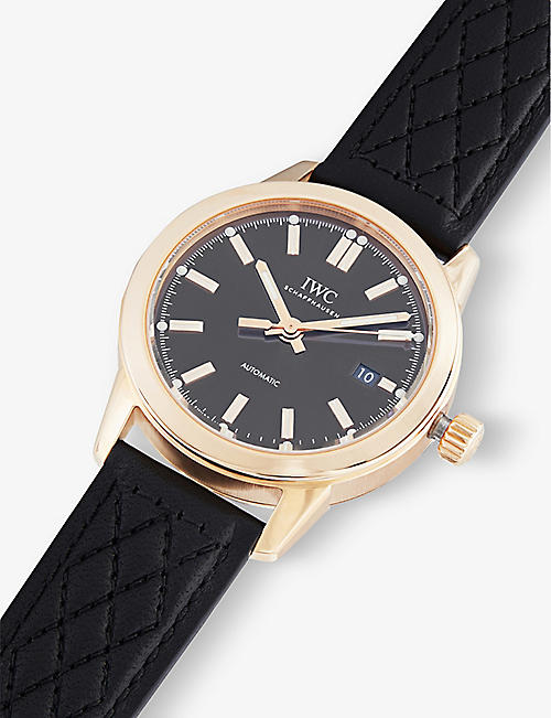 IWC SCHAFFHAUSEN IW357003 Ingenieur 18 carat rose-gold and leather watch