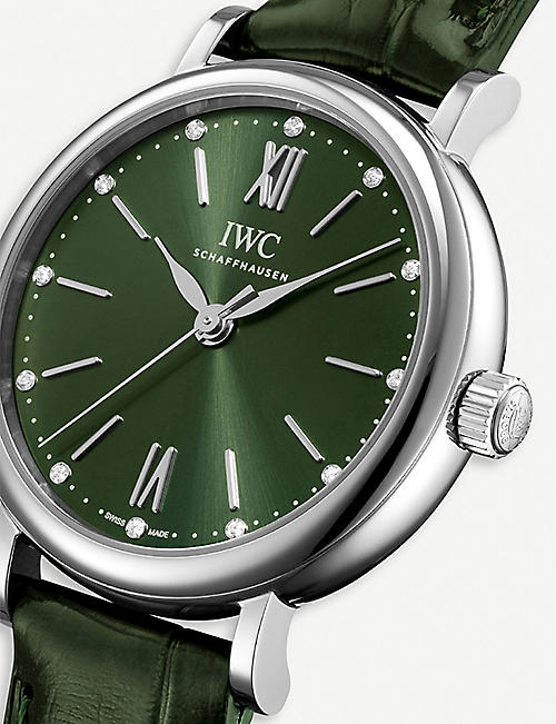 IWC SCHAFFHAUSEN IW357405 Portofino Automatic stainless steel and alligator leather watch