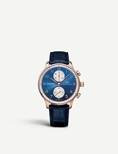 IWC SCHAFFHAUSEN IW371488 Portugieser Chronograph alligator leather and rose gold watch