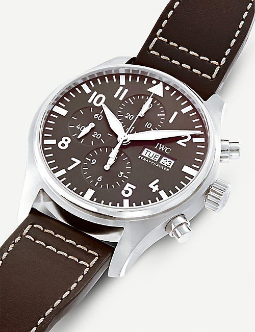 IWC SCHAFFHAUSEN IW377717 Pilot stainless steel and leather watch