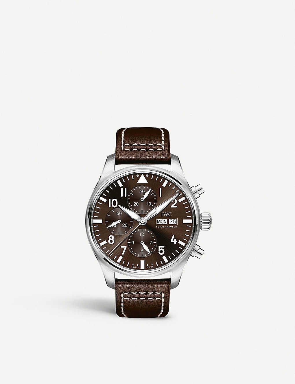IWC SCHAFFHAUSEN: IW377717 Pilot stainless steel and leather watch