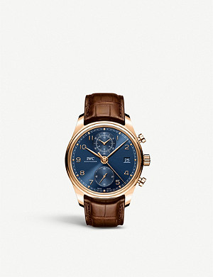 IWC SCHAFFHAUSEN Portugieser rose-gold and alligator-leather leather watch