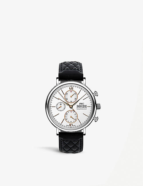 IWC SCHAFFHAUSEN: IW391022 Portofino stainless steel and leather watch