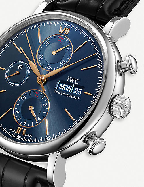 IWC SCHAFFHAUSEN IW391036 Portofino Chronograph stainless steel and alligator leather watch