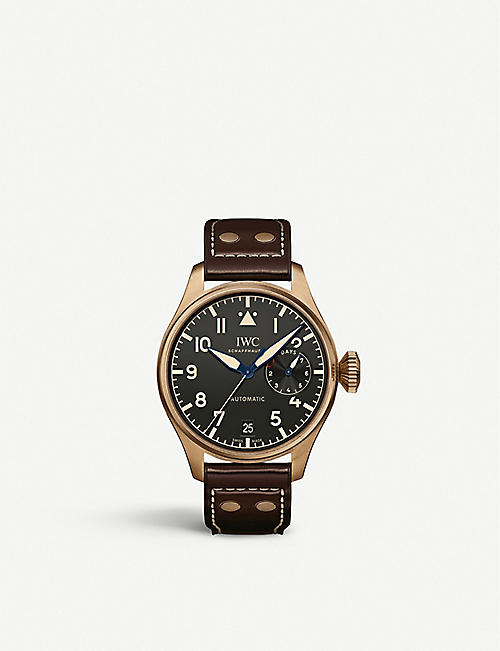 IWC SCHAFFHAUSEN: IW501005 Big Pilot Heritage bronze and leather automatic watch