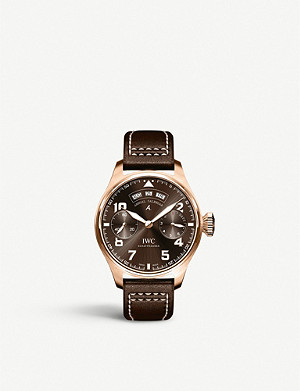 IWC SCHAFFHAUSEN IW502708 Big Pilot calendar 18ct rose-gold and leather watch