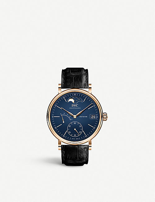 IWC SCHAFFHAUSEN IW516407 Portofino Moonphase stainless steel and leather watch