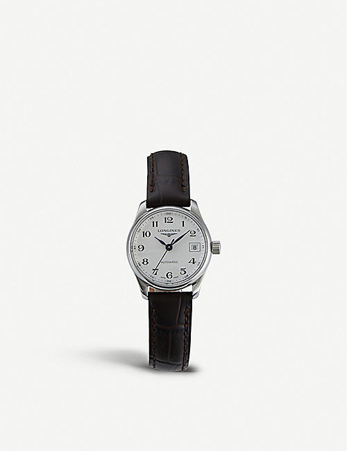 LONGINES: L2.128.4.78.3 stainless steel and croc-embossed calfskin-leather automatic watch