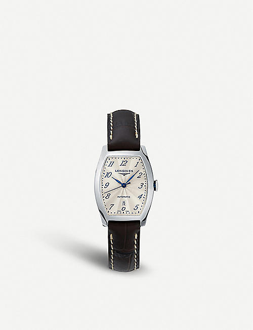 LONGINES: L2.142.4.73.2 Evidenza stainless steel and leather watch