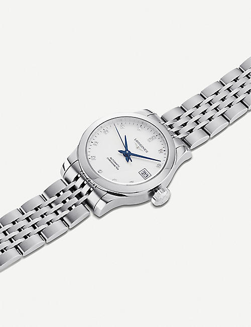 LONGINES L23204876 Record automatic embellished stainless steel watch