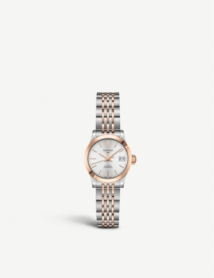 LONGINES L2.320.5.72.7 Record stainless steel and rose gold-plated watch