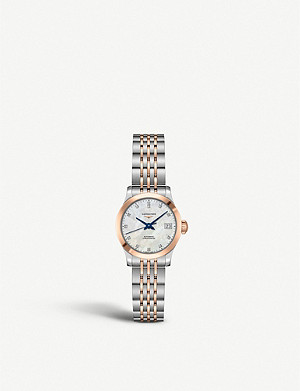 LONGINES L23205877 Record automatic stainless steel and rose gold-plated watch
