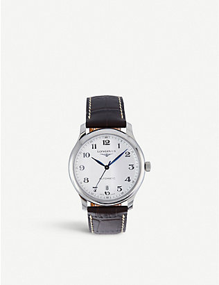 LONGINES: L26284785 Master stainless-steel and leather watch