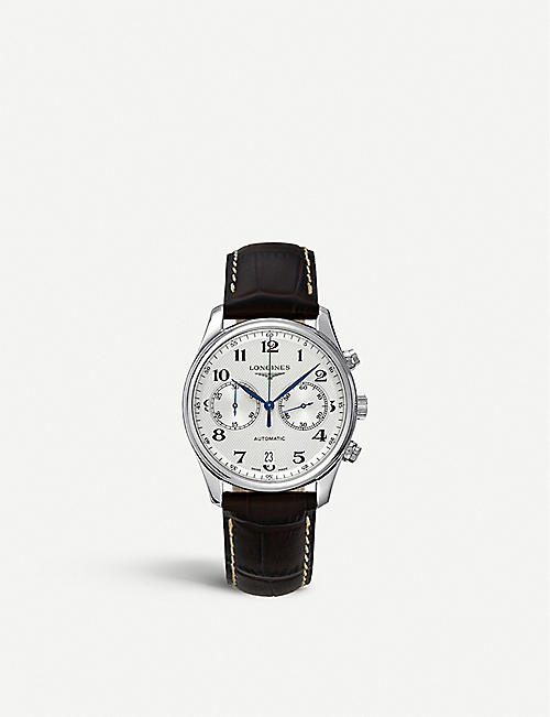 LONGINES: L26294783 stanless steel and leather watch