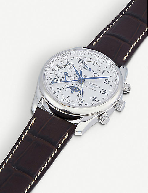 LONGINES L2.673.4.78.5 Master stainless steel and leather watch
