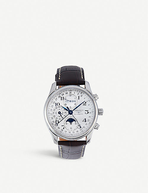 LONGINES: L2.673.4.78.5 Master stainless steel and leather watch