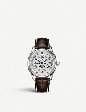 LONGINES L2.739.4.71.3 Master Moon-Phase stainless steel and leather watch