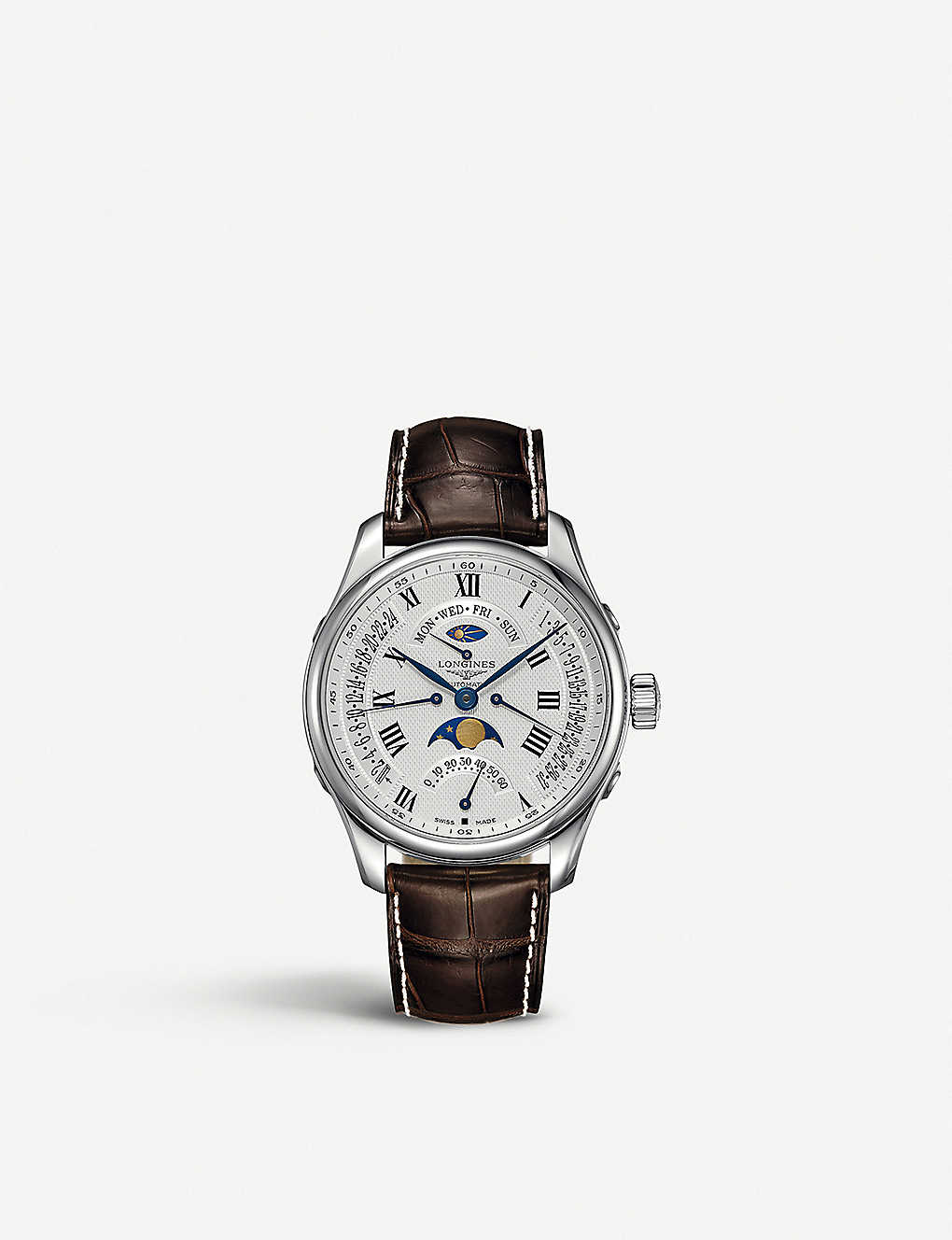 LONGINES: L2.739.4.71.3 Master Moon-Phase stainless steel and leather watch