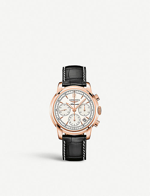 LONGINES L2.752.8.72.3 Saint Imeir 18ct rose-gold and crocodile-embossed leather chronograph watch