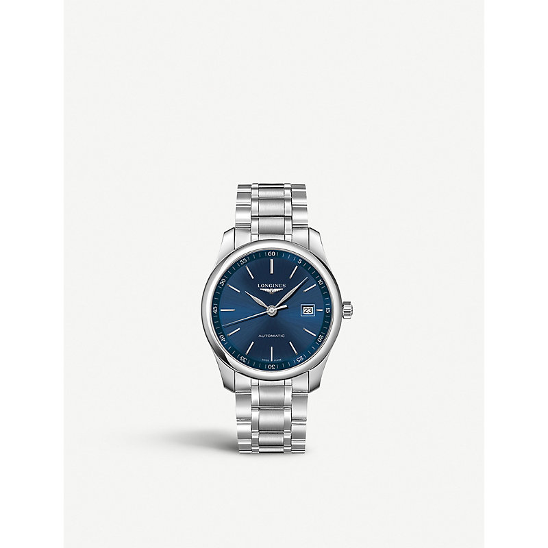 LONGINES Master Collection Stainless Steel Automatic Bracelet Watch in Silver/ Blue/ Silver