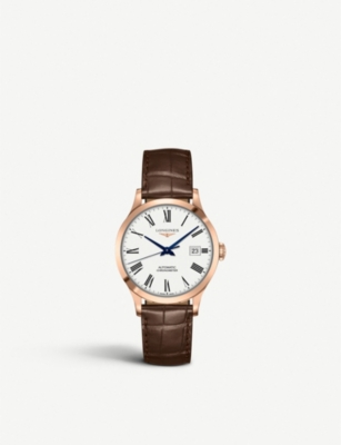 LONGINES L2.820.8.11.2 Record rose gold-plated stainless steel and leather watch