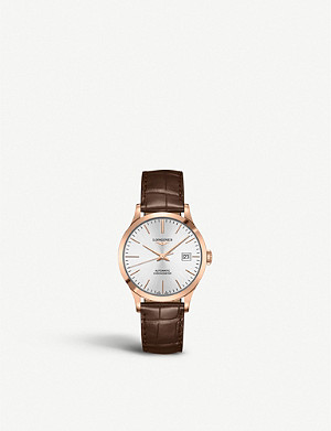 LONGINES L2.820.8.72.2 Record rose-gold plated stainless steel and alligator-leather watch