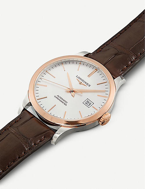 LONGINES L2.821.5.72.2 Record rose gold-plated stainless steel and leather watch