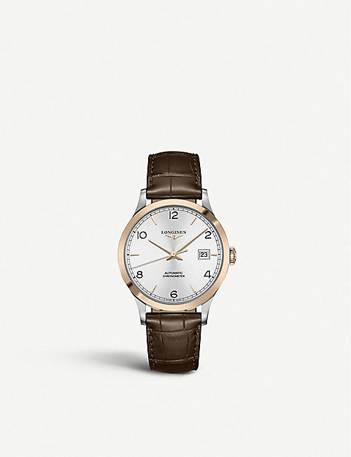 LONGINES L2.821.5.76.2 Record rose gold-plated stainless steel and alligator-leather watch