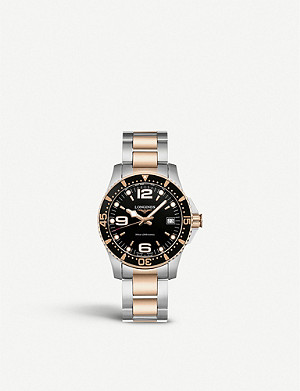 LONGINES L33403587 Hydroconquest stainless steel and rose gold-plated watch