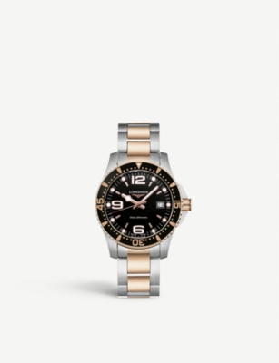 LONGINES L37403587 Hydroconquest stainless steel and rose gold-plated watch
