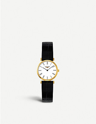LONGINES: L42092112 La Grandes Classiques yellow-gold and leather watch