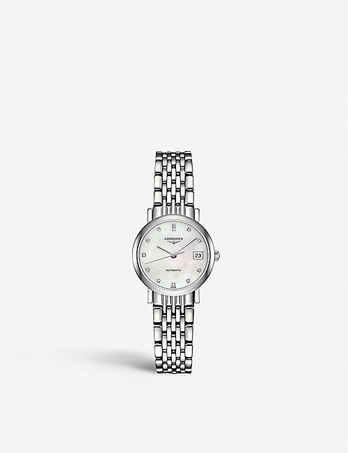 LONGINES: L4.309.4.87.6 Elegant collection mother-of-pearl and stainless steel watch