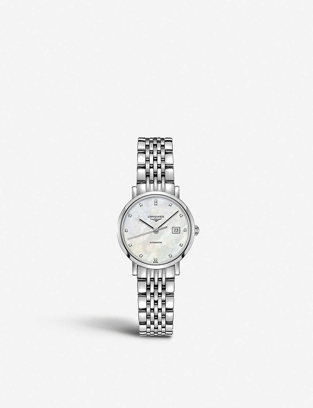 LONGINES: L4.309.4.87.6 Elegant diamond, mother-of-pearl and stainless steel watch