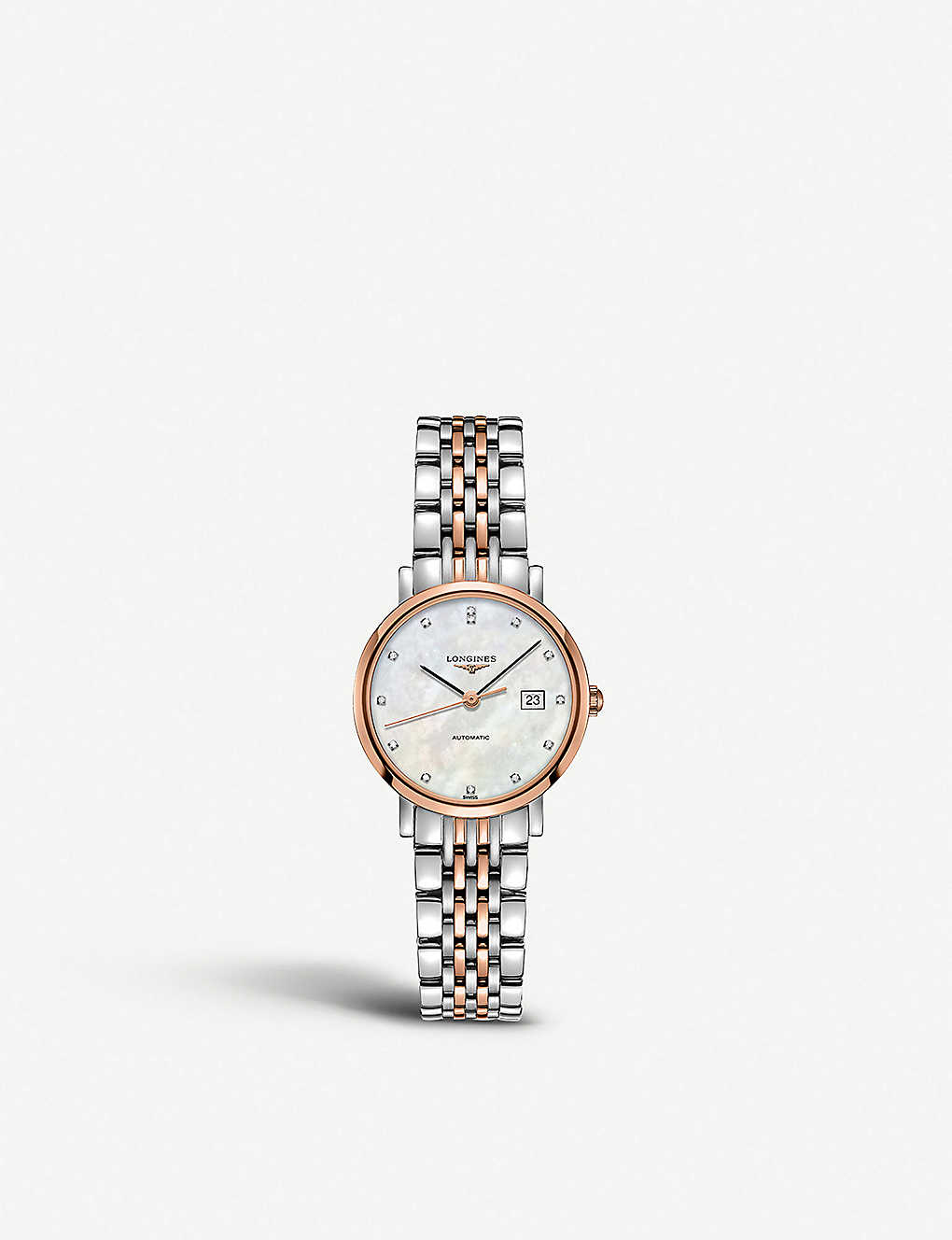 LONGINES: L4.310.5.87.7 Elegant diamond, mother-of-pearl and rose gold-plated stainless steel watch