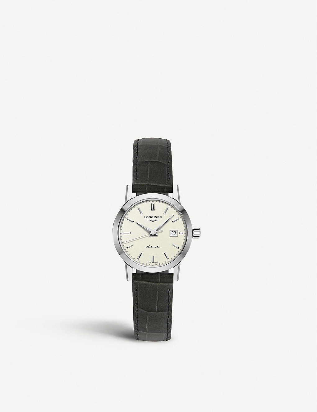LONGINES: L43254922 The Longines 1832 stainless steel and croc-embossed calfskin-leather strap watch