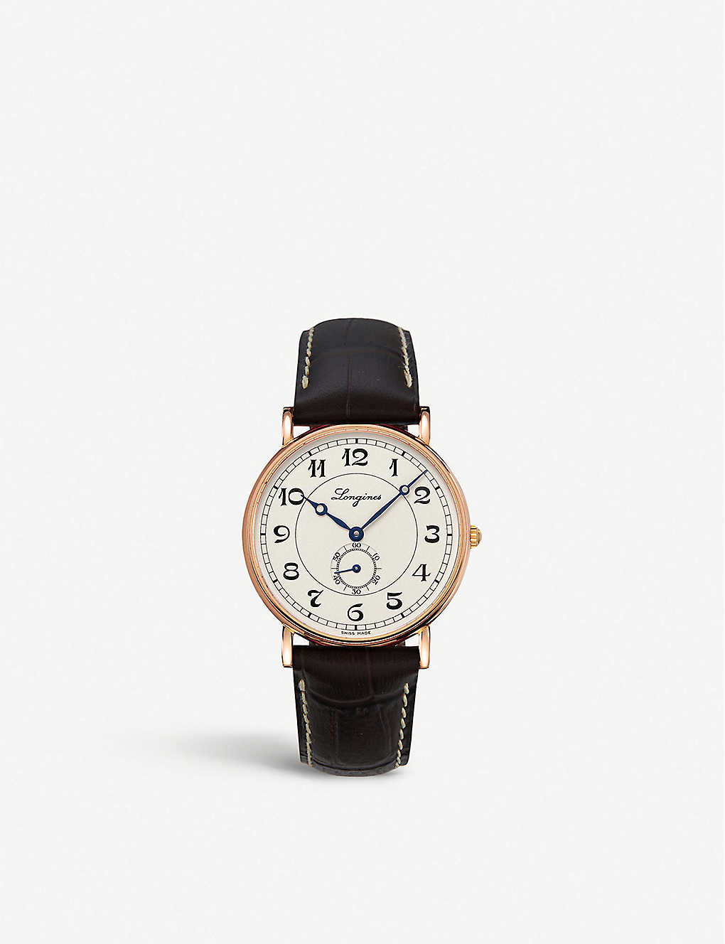 LONGINES: L4.785.8.73.2 Heritage 18ct rose-gold and leather watch