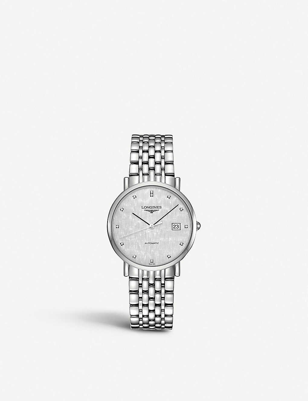 LONGINES: L4.810.4.77.6 Elegant stainless steel and diamond watch