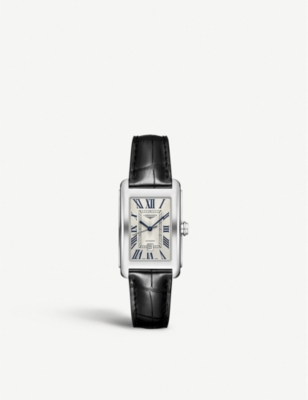 LONGINES L57574710 Longines Dolcevita stainless steel and leather watch