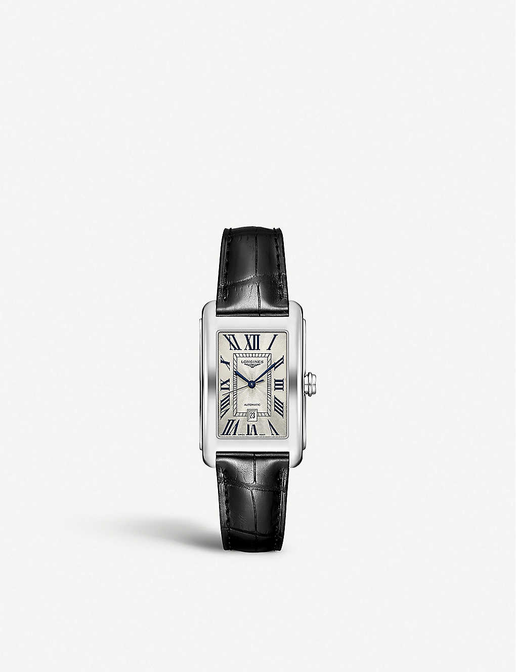 LONGINES: L57574710 Longines Dolcevita stainless steel and calfskin-leather watch