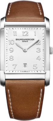 BAUME & MERCIER Hampton 10153 polished steel and leather watch