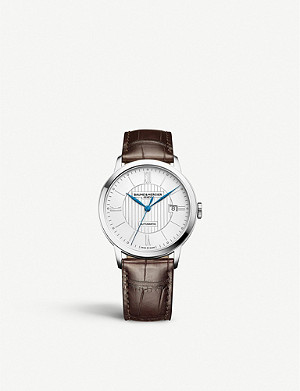 BAUME & MERCIER 10214 Classima stainless steel and alligator-leather watch